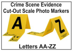 Evidence Photo Marker  Photo Marker with Cut-Out Scale - AA-ZZ Crime Scene Evidence Photo Markers