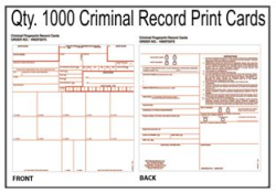 Criminal Record Fingerprint Cards