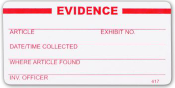 """White Super-Stick Evidence Seal - """"Evidence"""" - 100/roll"""