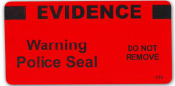 """Red Evidence Warning Police Seal - """"Evidence"""" - 100/roll"""