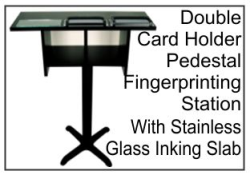 Pedestal Station W/2 Card Holder, Glass Slab